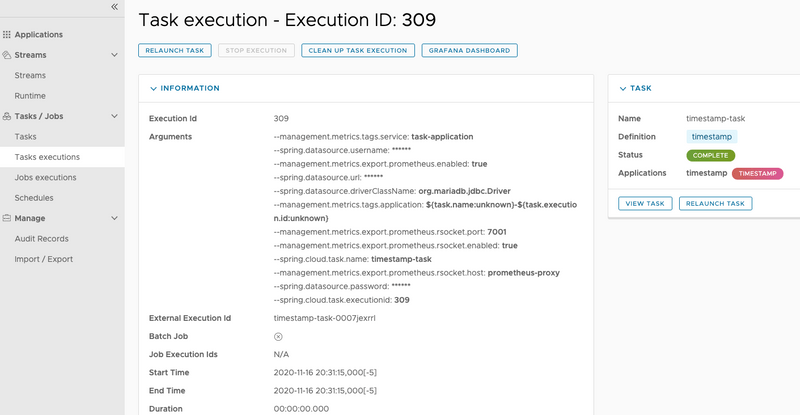 Task Execution Details with Successful Task Execution