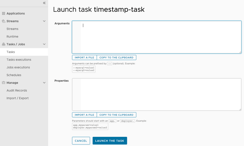 Launch Task - Provide Arguments or Parameters