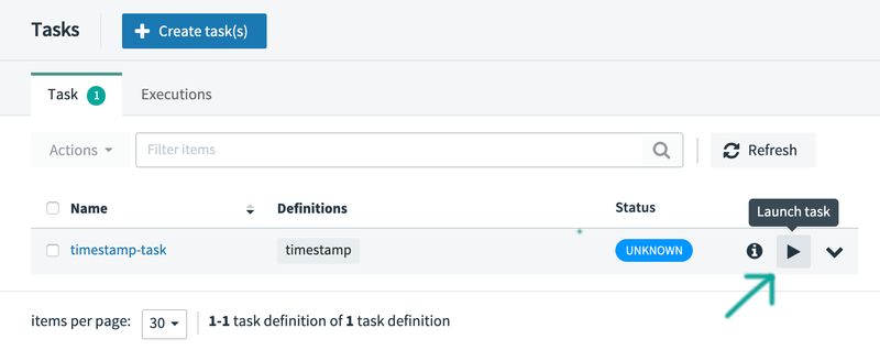 Launch Timestamp Task Definition